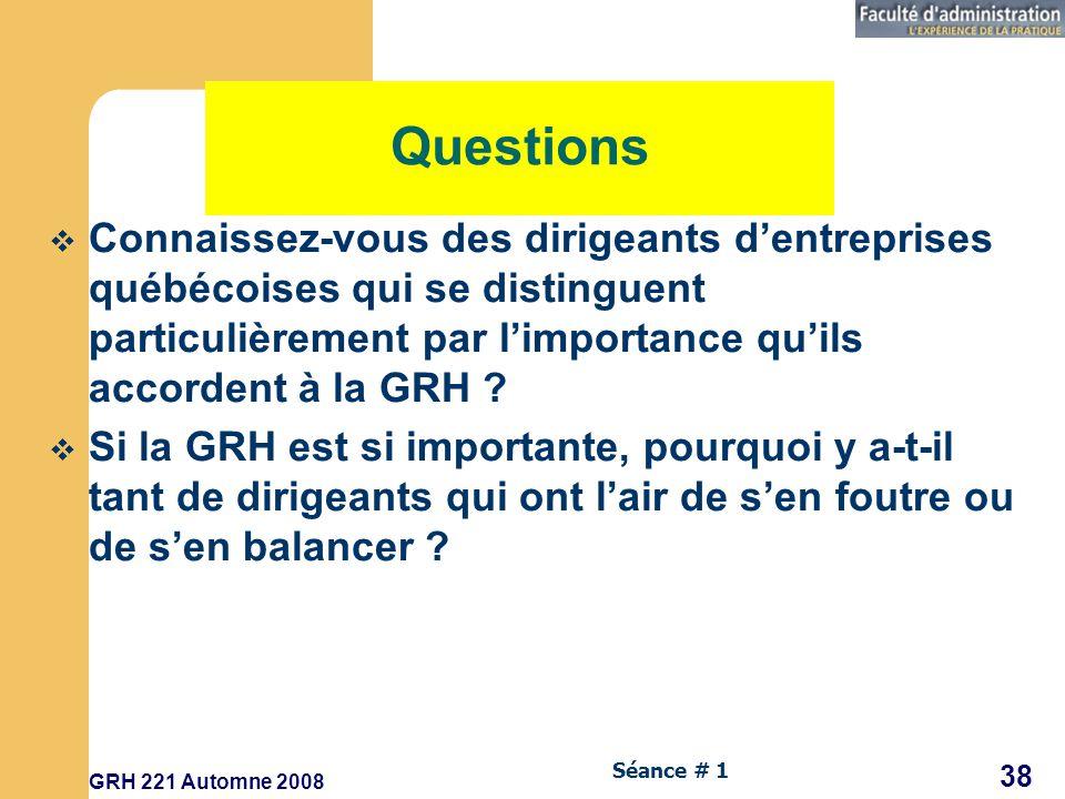 Questions Connaissez-vous des dirigeants d'entreprises québécoises qui se distinguent particulièrement par l'importance qu'ils accordent à la GRH