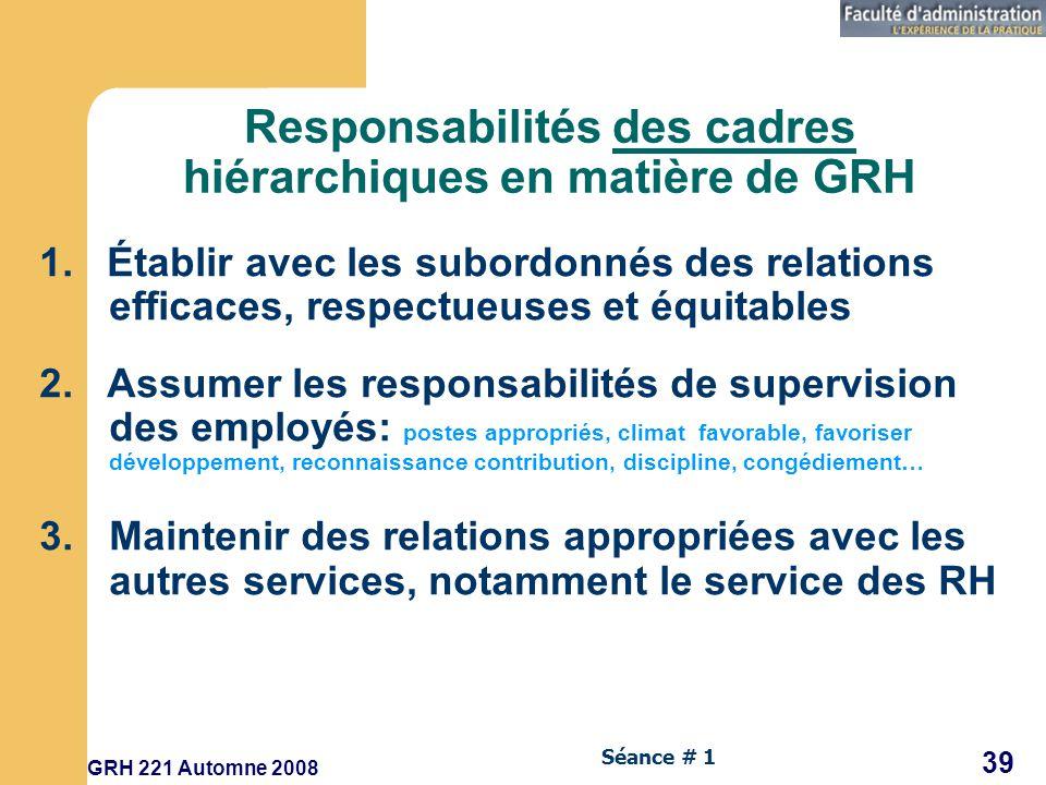 Responsabilités des cadres hiérarchiques en matière de GRH