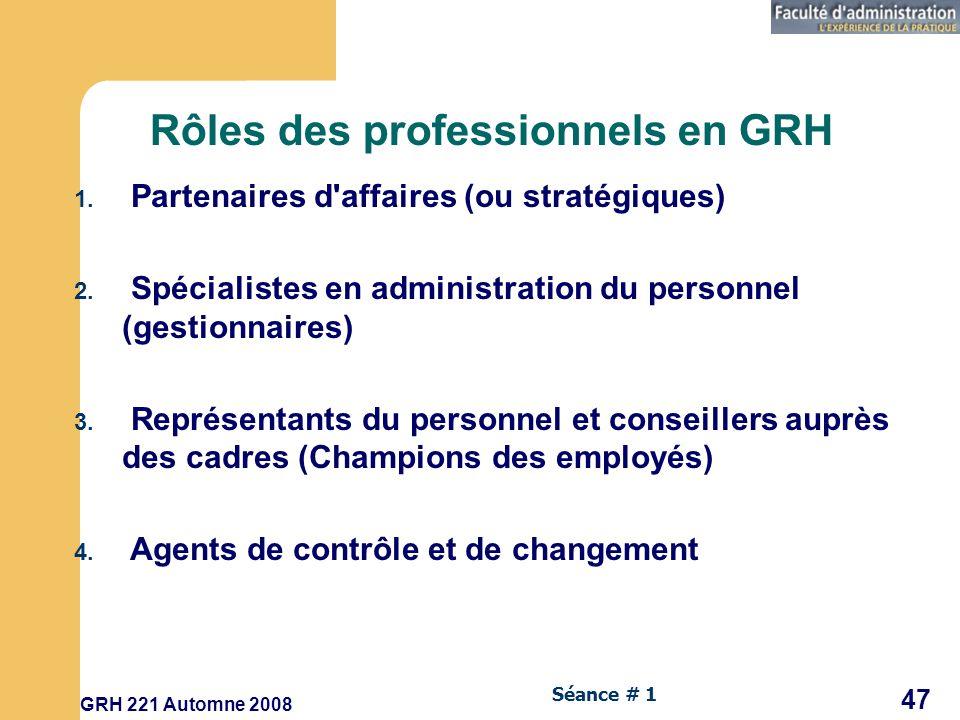 Rôles des professionnels en GRH