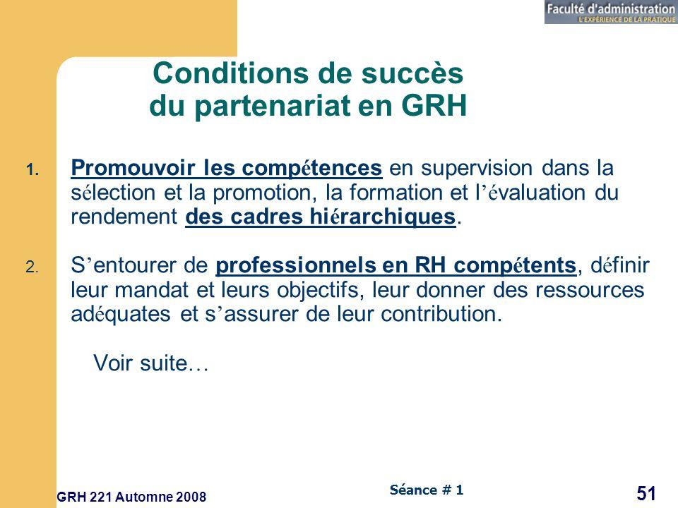 Conditions de succès du partenariat en GRH
