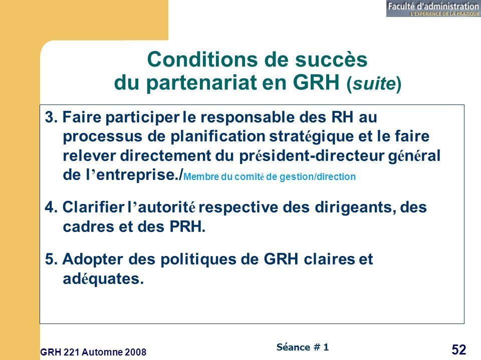Conditions de succès du partenariat en GRH (suite)