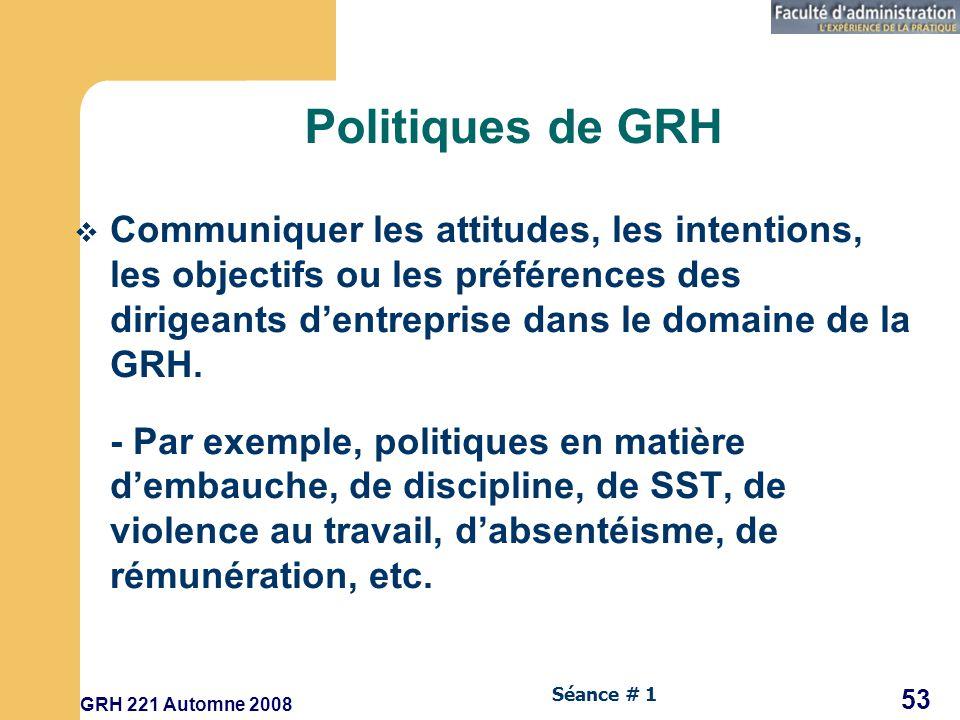 Politiques de GRH Communiquer les attitudes, les intentions, les objectifs ou les préférences des dirigeants d'entreprise dans le domaine de la GRH.