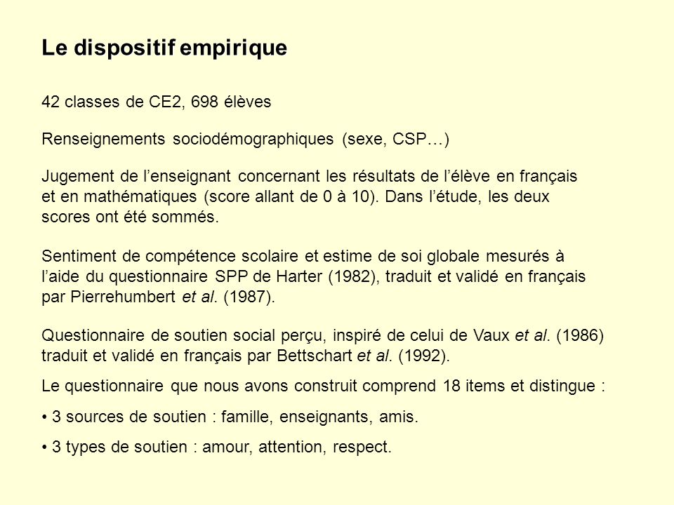Le dispositif empirique