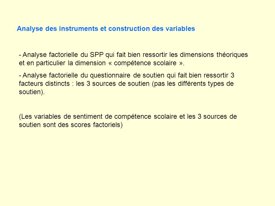 Analyse des instruments et construction des variables