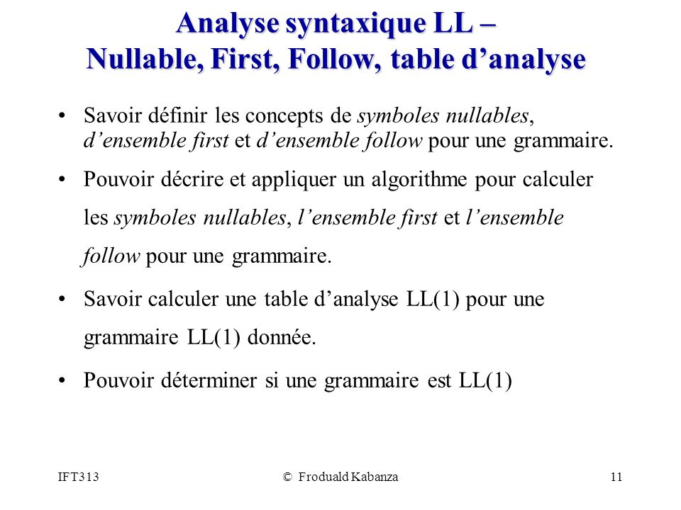 Analyse syntaxique LL – Nullable, First, Follow, table d'analyse