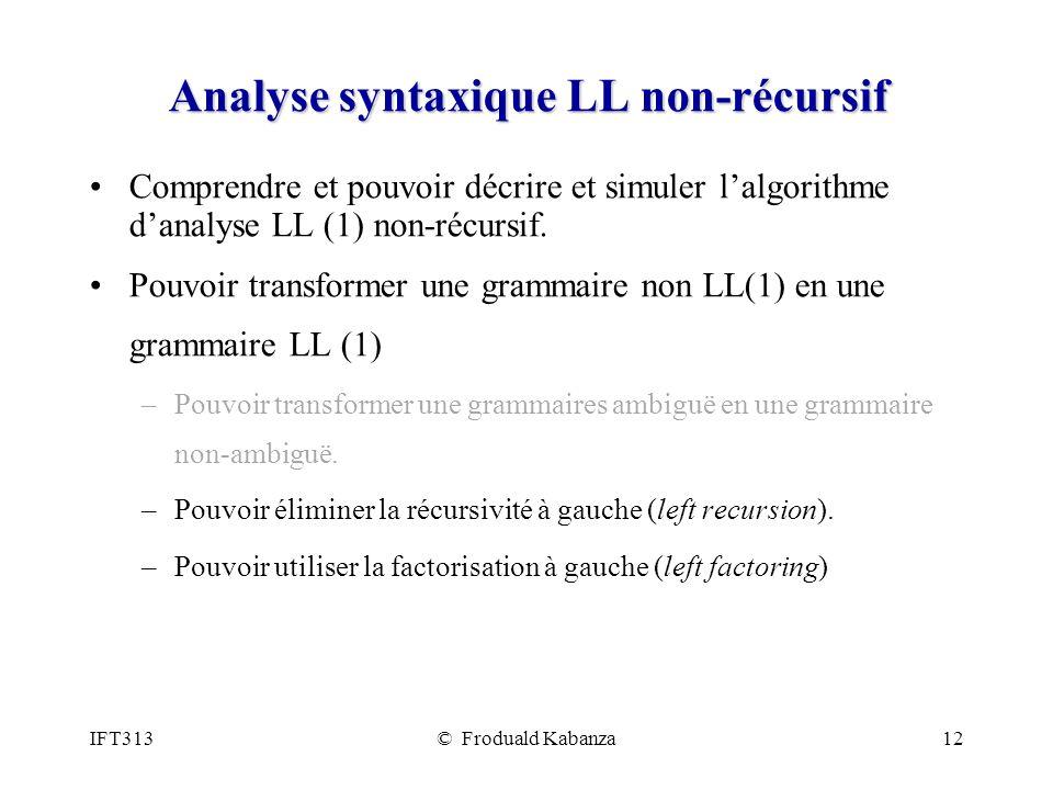 Analyse syntaxique LL non-récursif