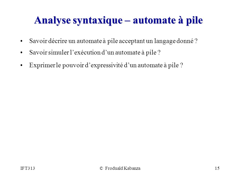 Analyse syntaxique – automate à pile