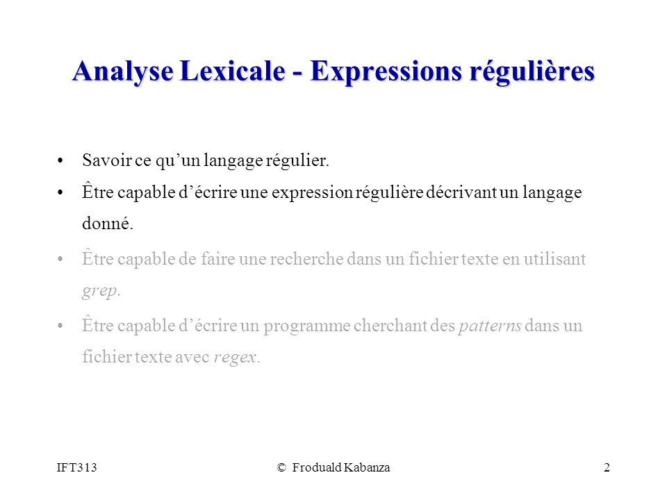 Analyse Lexicale - Expressions régulières