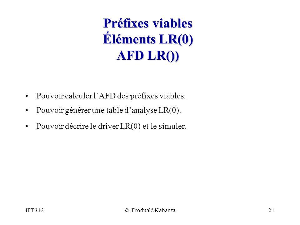 Préfixes viables Éléments LR(0) AFD LR())