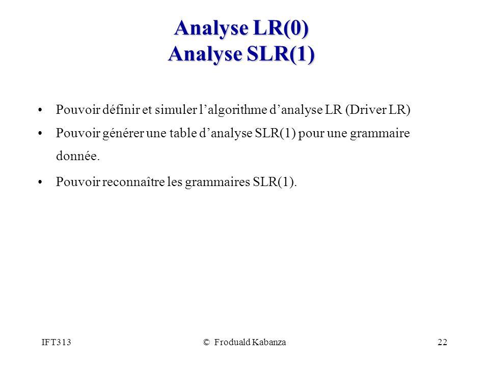 Analyse LR(0) Analyse SLR(1)