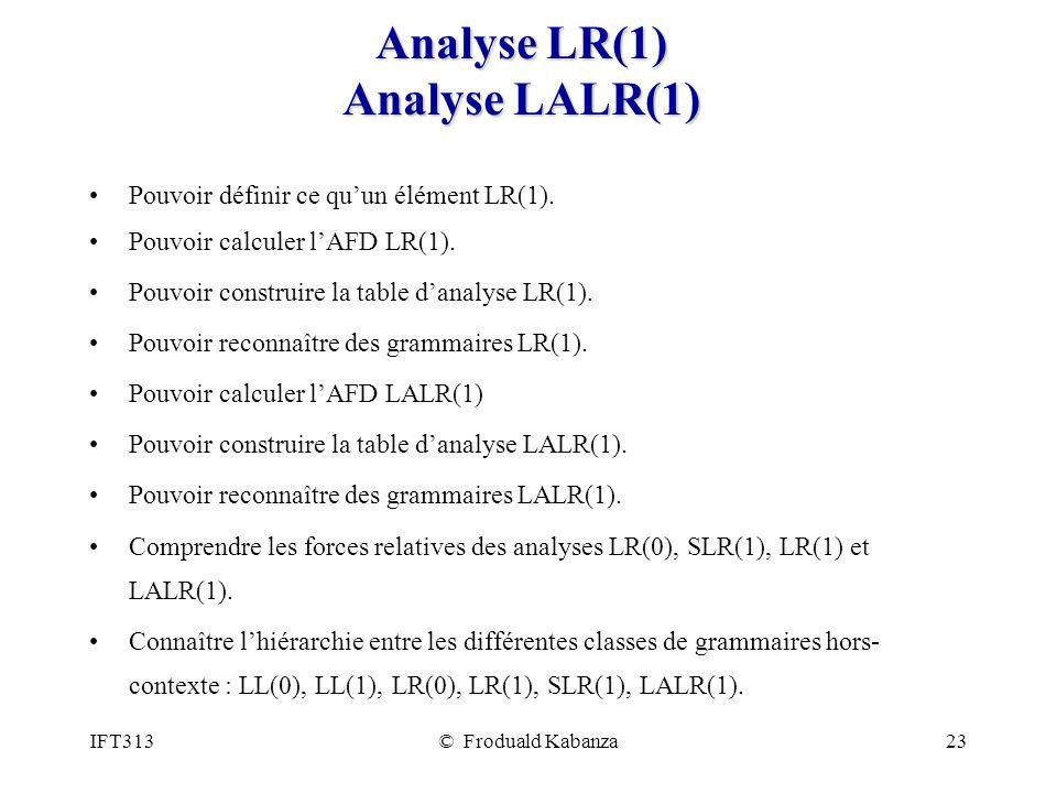 Analyse LR(1) Analyse LALR(1)