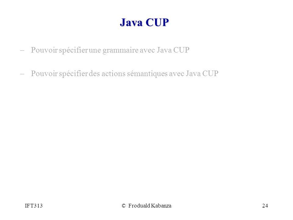Java CUP Pouvoir spécifier une grammaire avec Java CUP