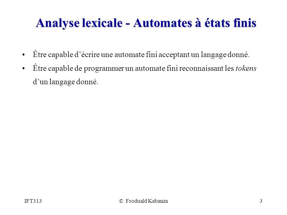 Analyse lexicale - Automates à états finis