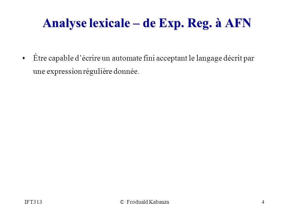 Analyse lexicale – de Exp. Reg. à AFN