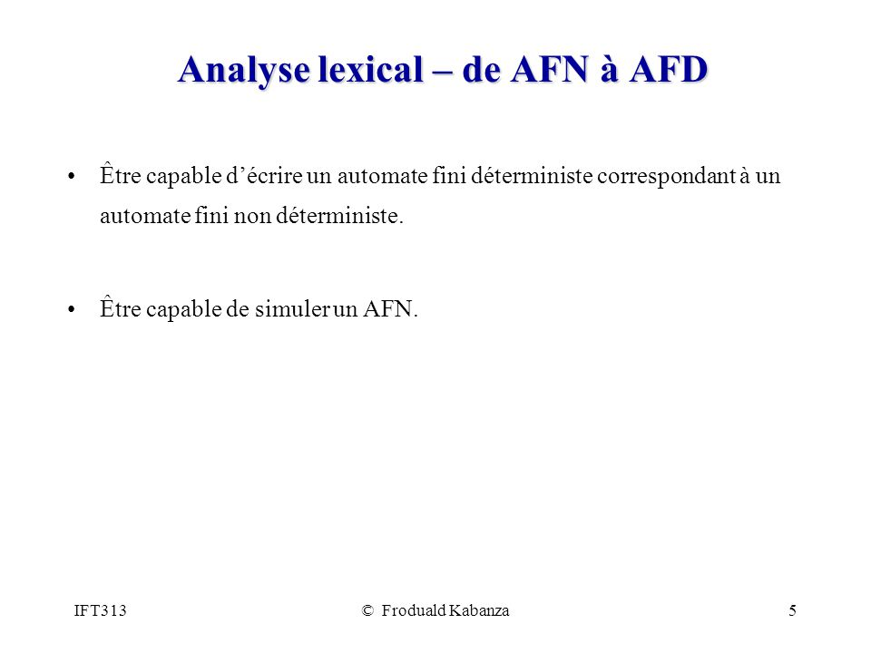 Analyse lexical – de AFN à AFD