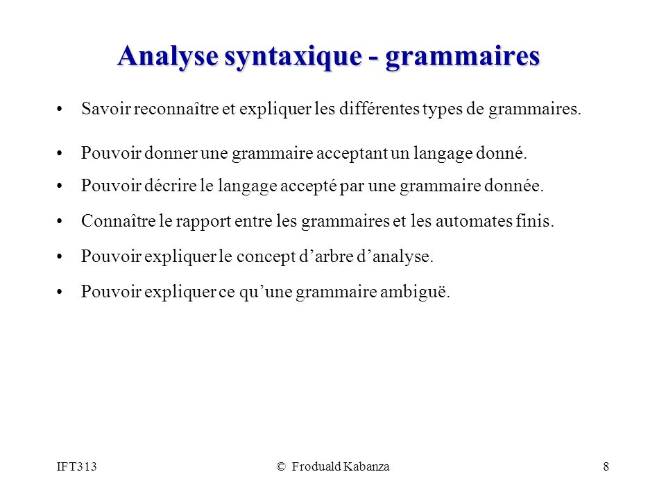 Analyse syntaxique - grammaires