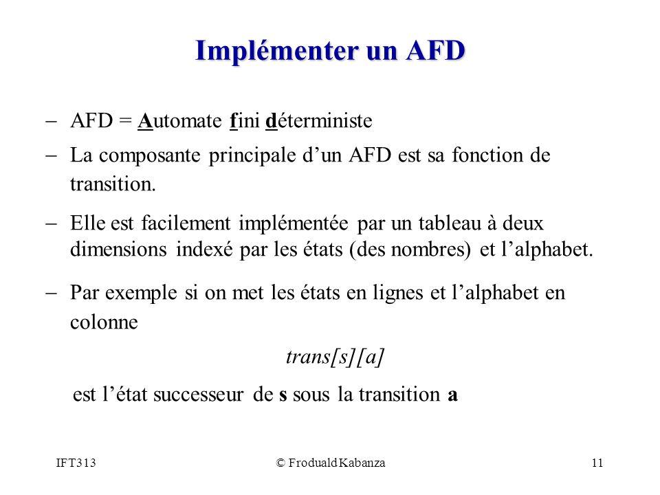 Implémenter un AFD AFD = Automate fini déterministe