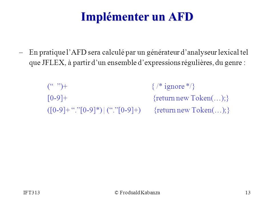 Implémenter un AFD