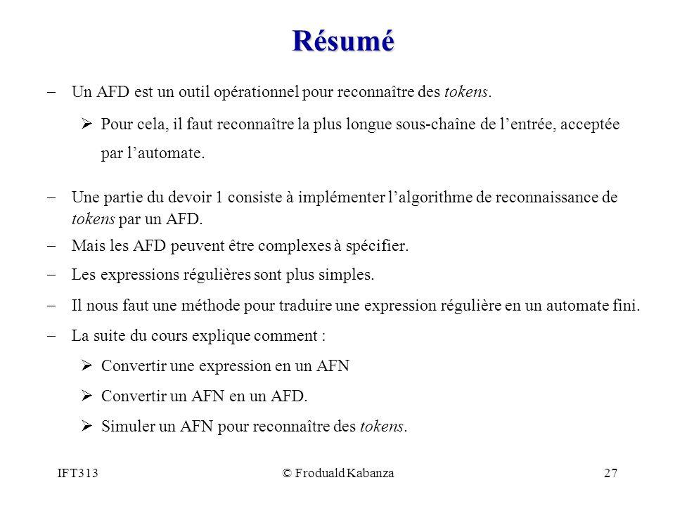 Résumé Un AFD est un outil opérationnel pour reconnaître des tokens.