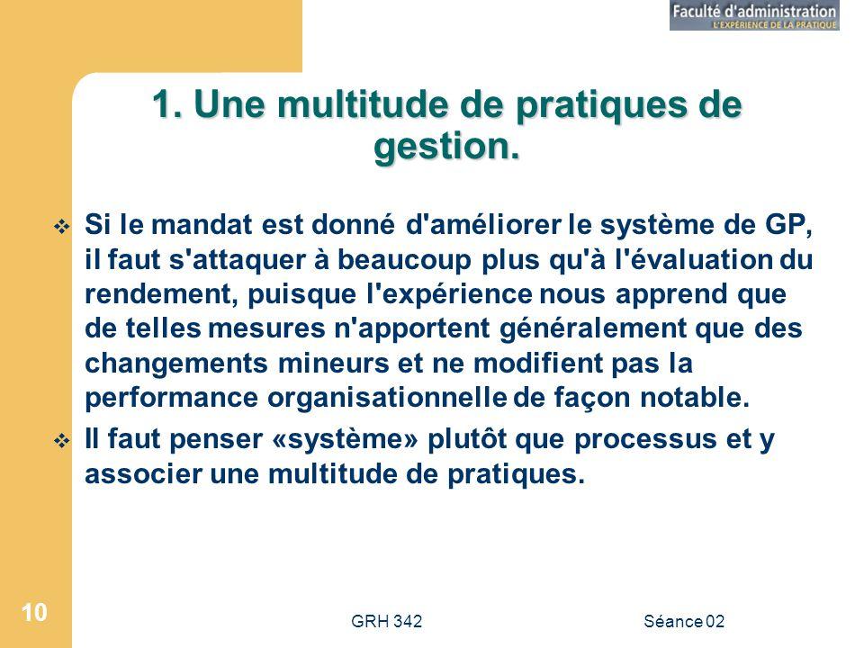 1. Une multitude de pratiques de gestion.