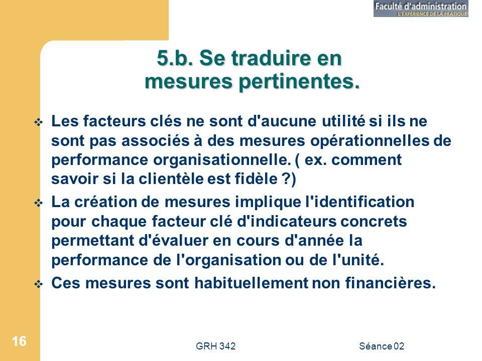 5.b. Se traduire en mesures pertinentes.