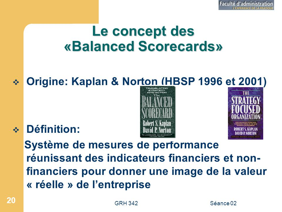 Le concept des «Balanced Scorecards»