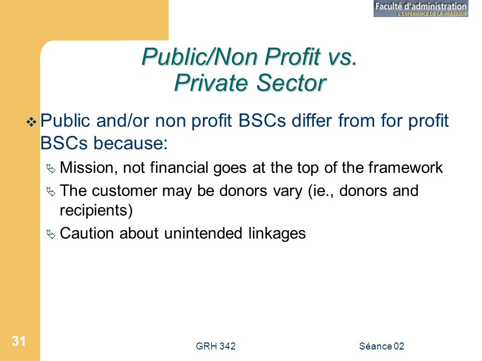 Public/Non Profit vs. Private Sector