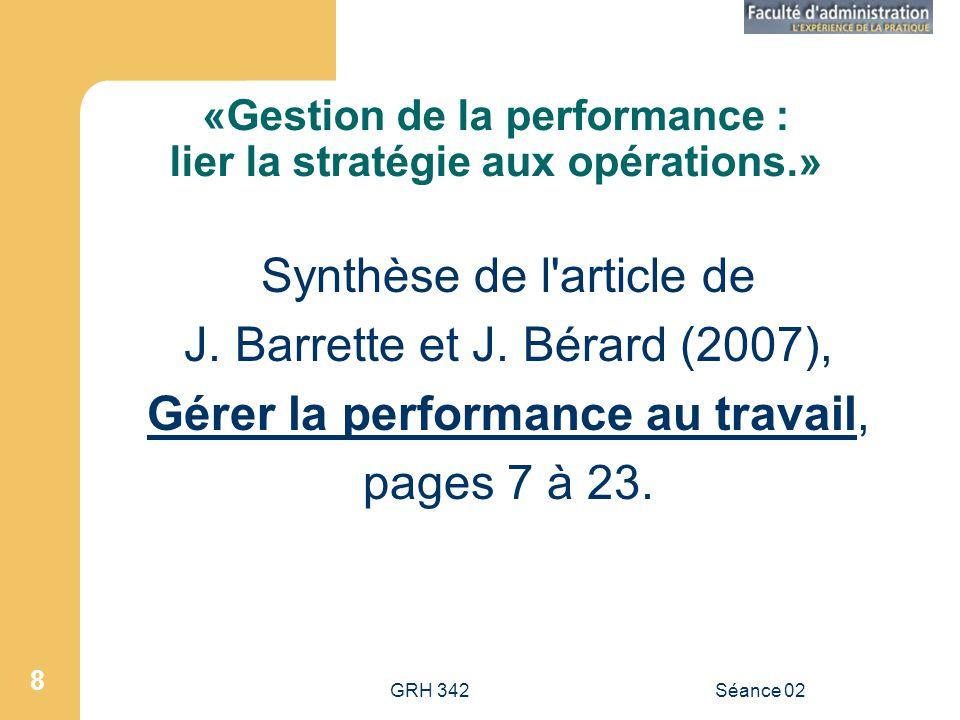 «Gestion de la performance : lier la stratégie aux opérations.»