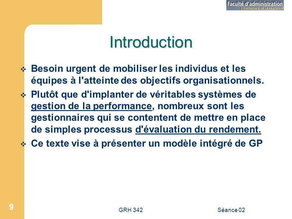 Introduction Besoin urgent de mobiliser les individus et les équipes à l atteinte des objectifs organisationnels.