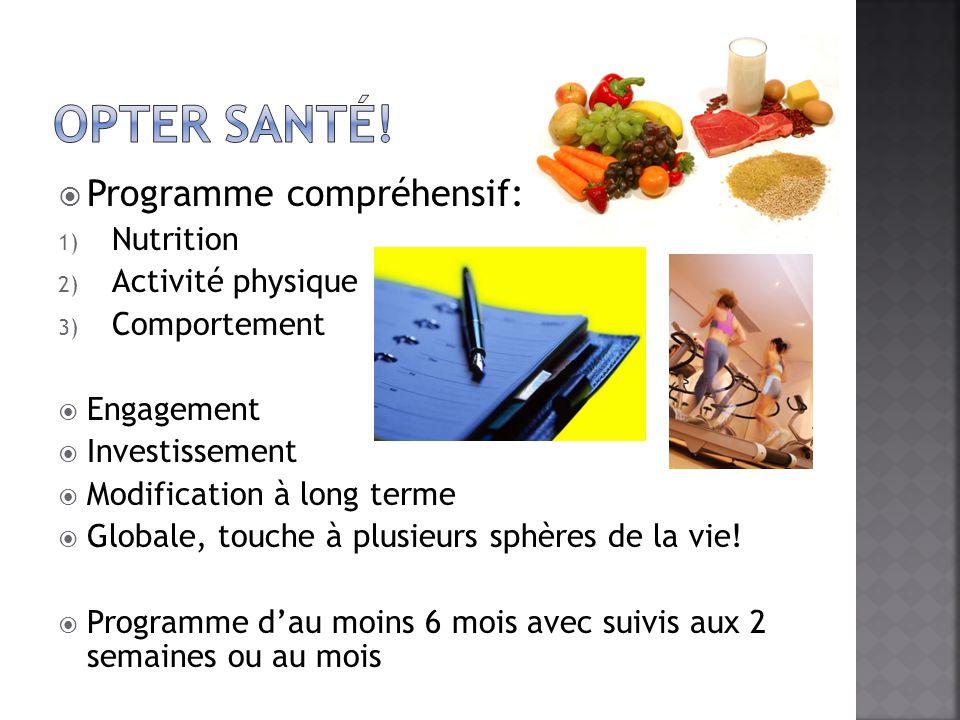 Opter santé! Programme compréhensif: Nutrition Activité physique