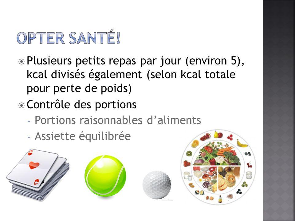 Opter santé! Plusieurs petits repas par jour (environ 5), kcal divisés également (selon kcal totale pour perte de poids)