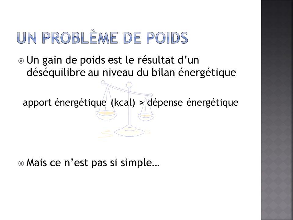 apport énergétique (kcal) > dépense énergétique