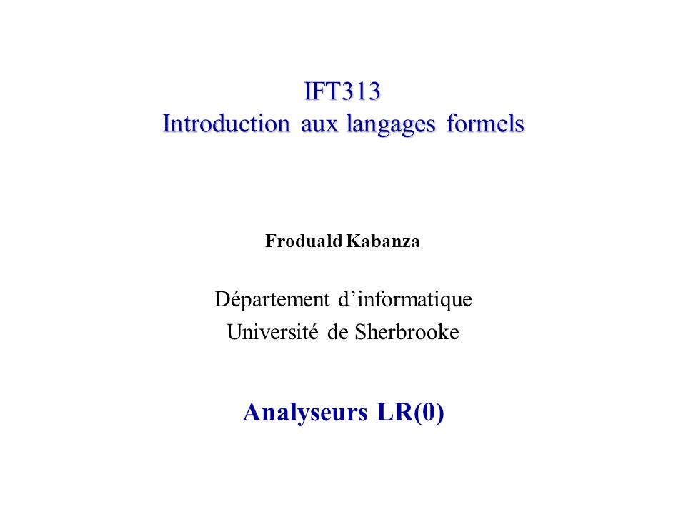 IFT313 Introduction aux langages formels