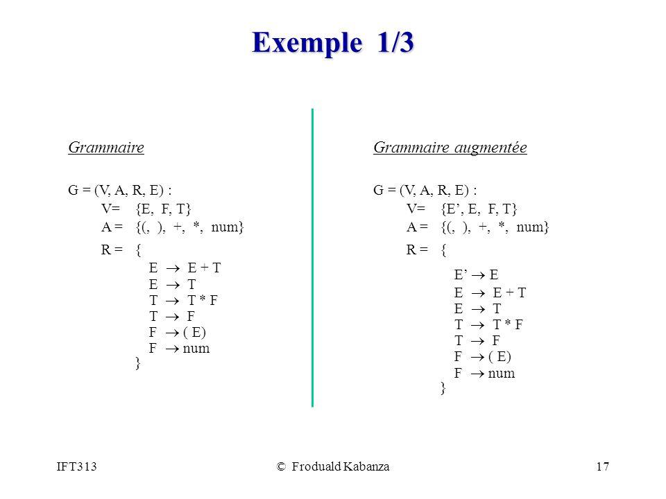 Exemple 1/3 Grammaire Grammaire augmentée G = (V, A, R, E) :