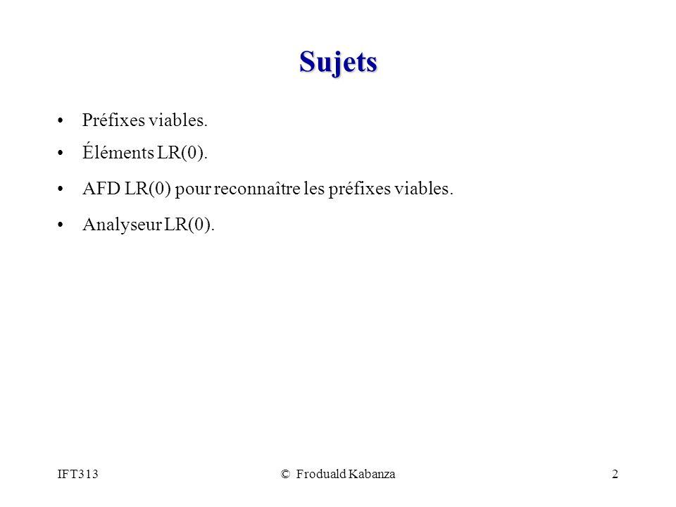 Sujets Préfixes viables. Éléments LR(0).