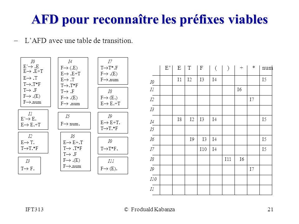 AFD pour reconnaître les préfixes viables
