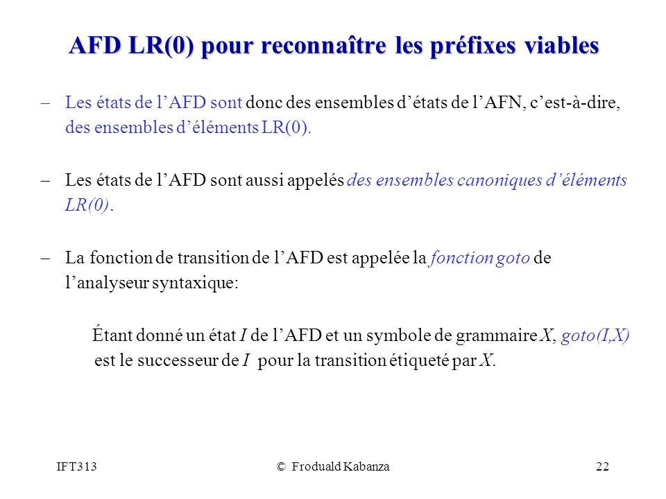 AFD LR(0) pour reconnaître les préfixes viables