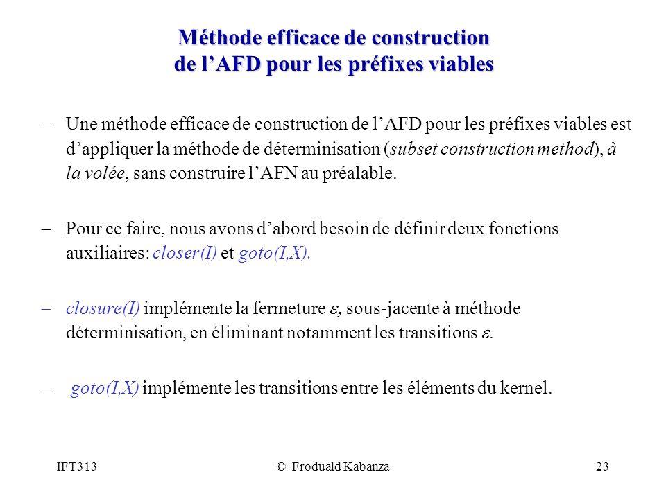 Méthode efficace de construction de l'AFD pour les préfixes viables