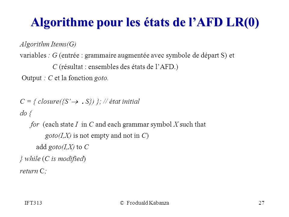 Algorithme pour les états de l'AFD LR(0)