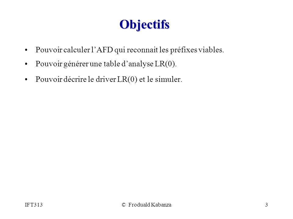 Objectifs Pouvoir calculer l'AFD qui reconnait les préfixes viables.