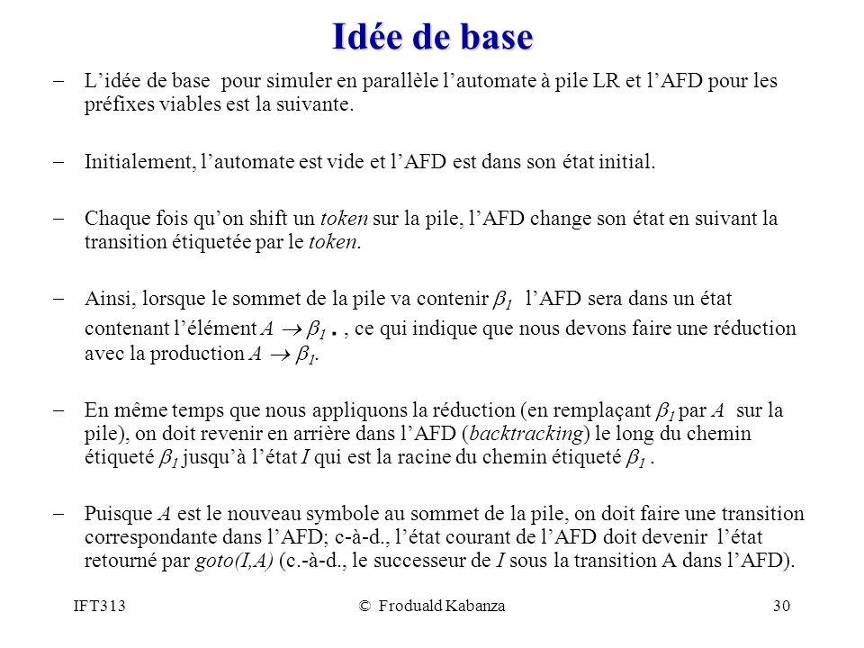 Idée de base L'idée de base pour simuler en parallèle l'automate à pile LR et l'AFD pour les préfixes viables est la suivante.