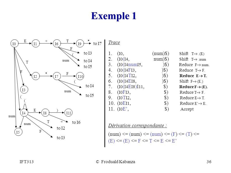 Exemple 1 Trace 1. (I0, (num)$) Shift T® .(E)