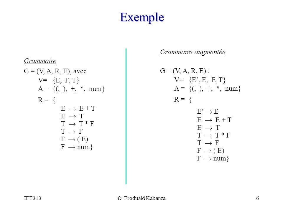 Exemple Grammaire augmentée Grammaire G = (V, A, R, E) :