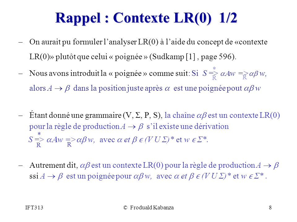 Rappel : Contexte LR(0) 1/2
