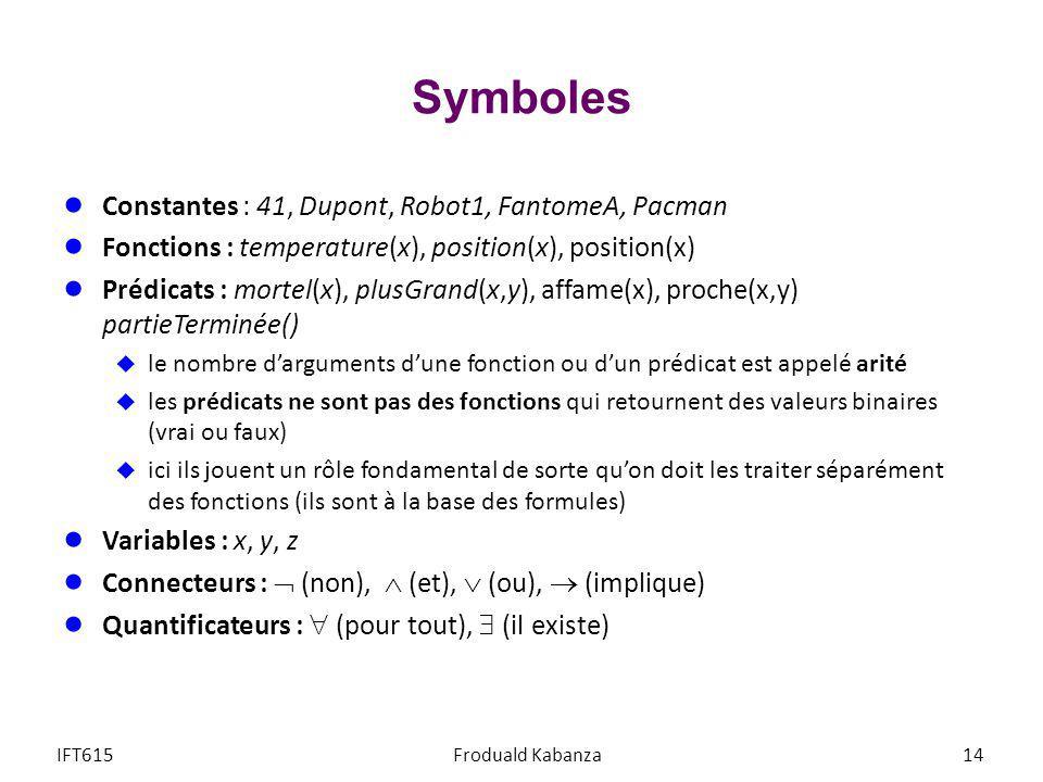Symboles Constantes : 41, Dupont, Robot1, FantomeA, Pacman
