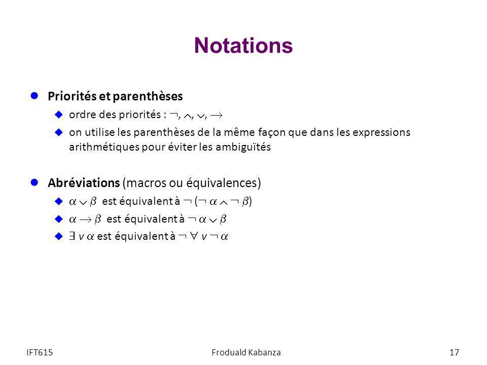 Notations Priorités et parenthèses