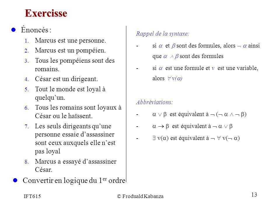 Exercisse Énoncés : Convertir en logique du 1er ordre