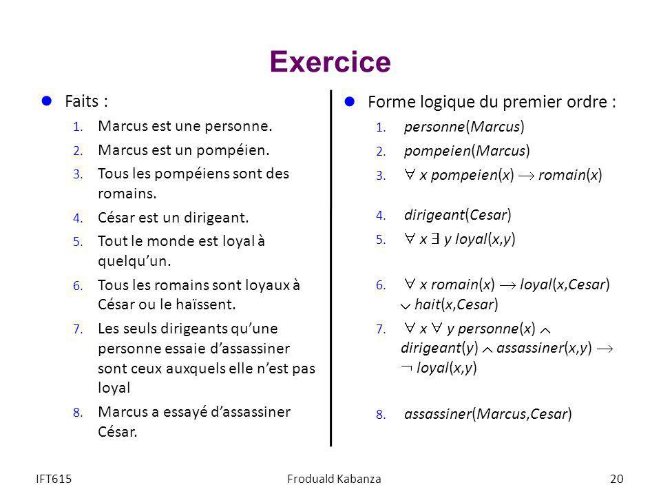 Exercice Faits : Forme logique du premier ordre :