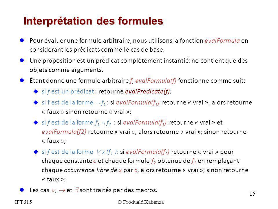 Interprétation des formules