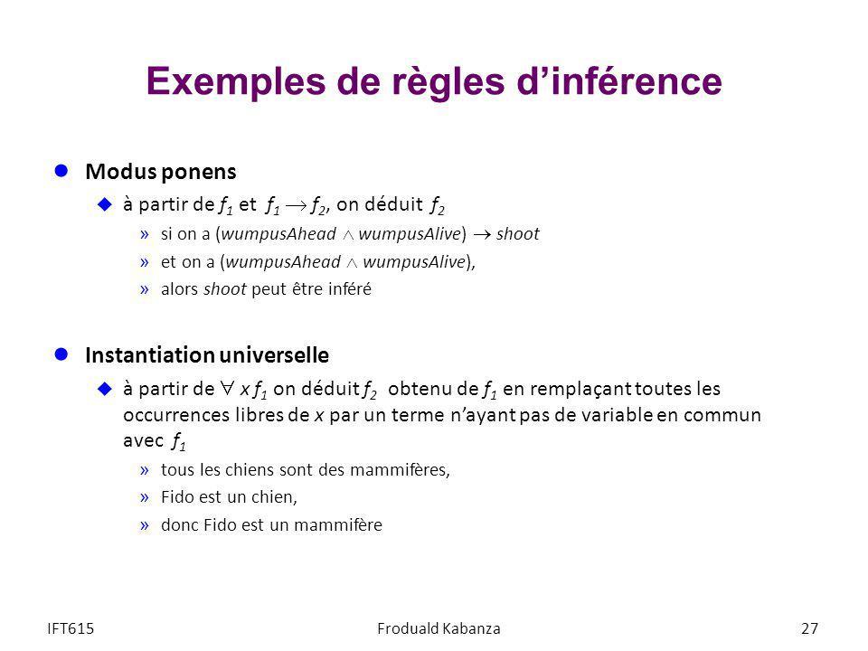 Exemples de règles d'inférence